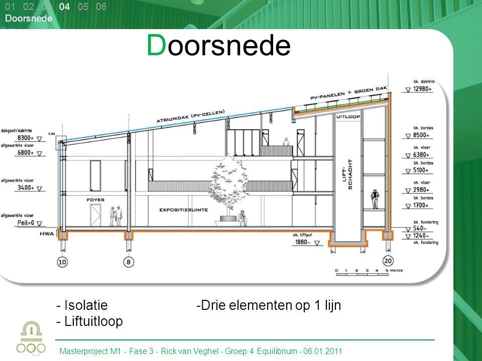 Doorsnede - Isolatie Liftuitloop Drie elementen op 1 lijn