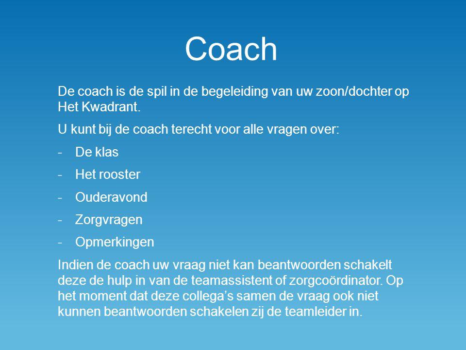 Coach De coach is de spil in de begeleiding van uw zoon/dochter op Het Kwadrant. U kunt bij de coach terecht voor alle vragen over: