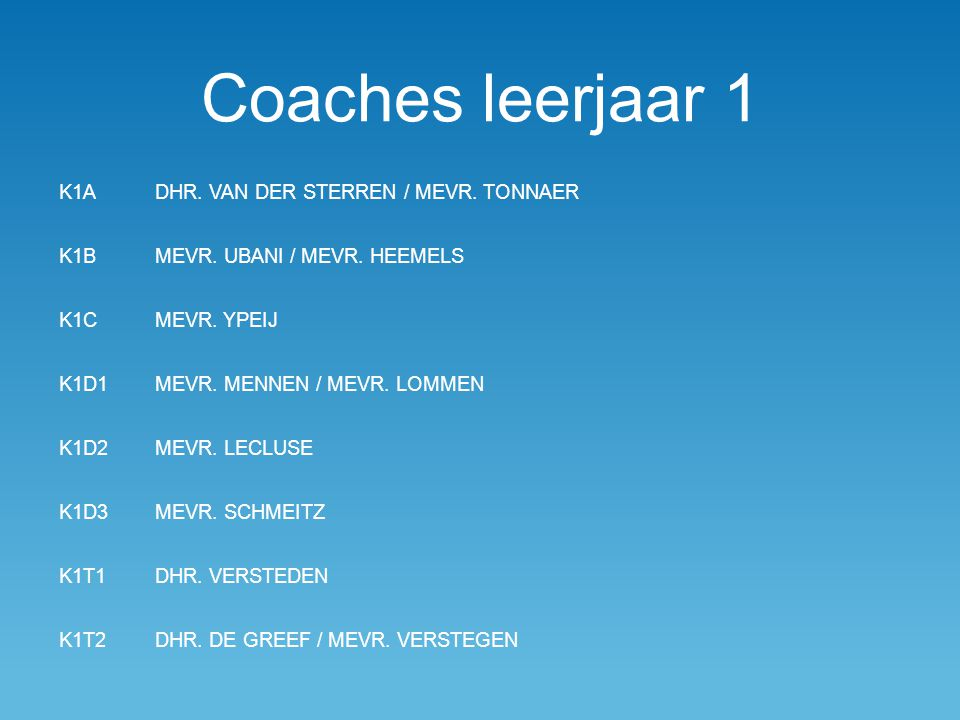 Coaches leerjaar 1