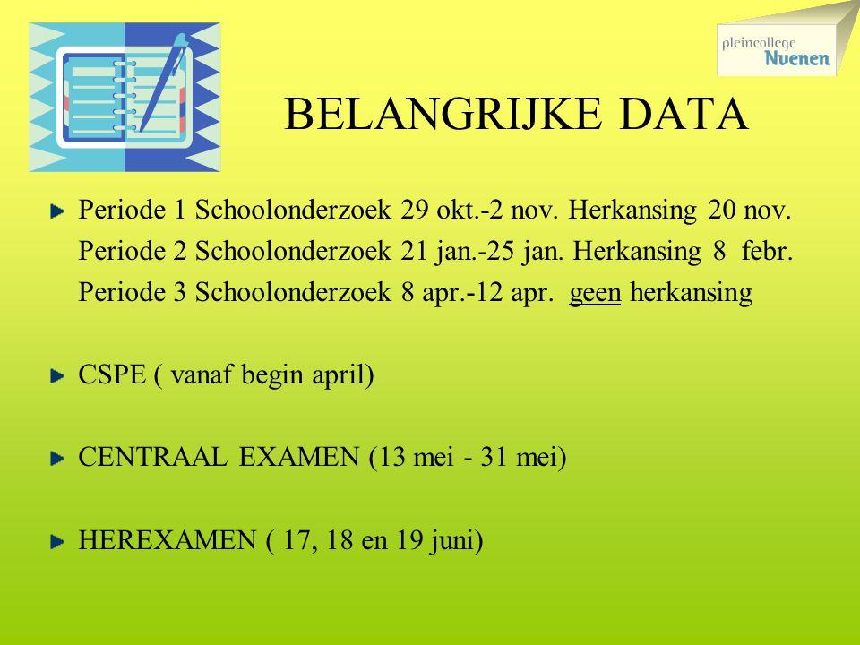 BELANGRIJKE DATA Periode 1 Schoolonderzoek 29 okt.-2 nov. Herkansing 20 nov. Periode 2 Schoolonderzoek 21 jan.-25 jan. Herkansing 8 febr.