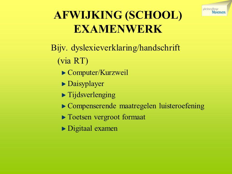 AFWIJKING (SCHOOL) EXAMENWERK