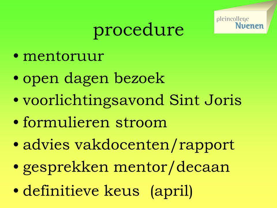 procedure mentoruur open dagen bezoek voorlichtingsavond Sint Joris