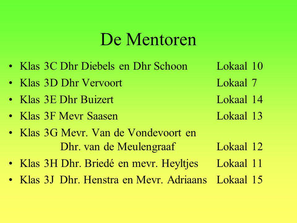 De Mentoren Klas 3C Dhr Diebels en Dhr Schoon Lokaal 10
