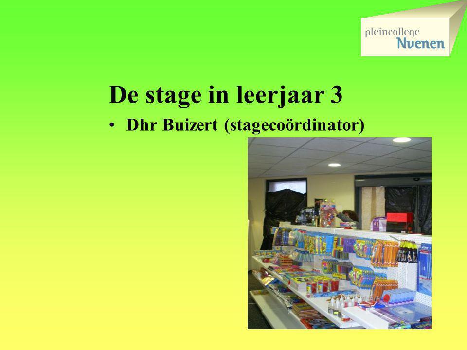 De stage in leerjaar 3 Dhr Buizert (stagecoördinator)