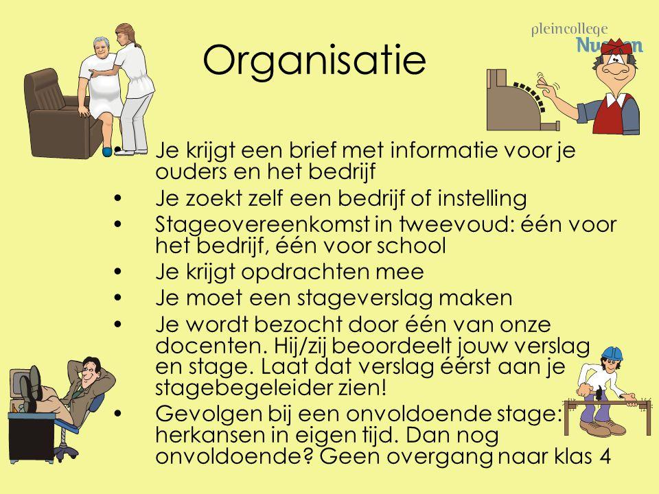 Organisatie Je krijgt een brief met informatie voor je ouders en het bedrijf. Je zoekt zelf een bedrijf of instelling.