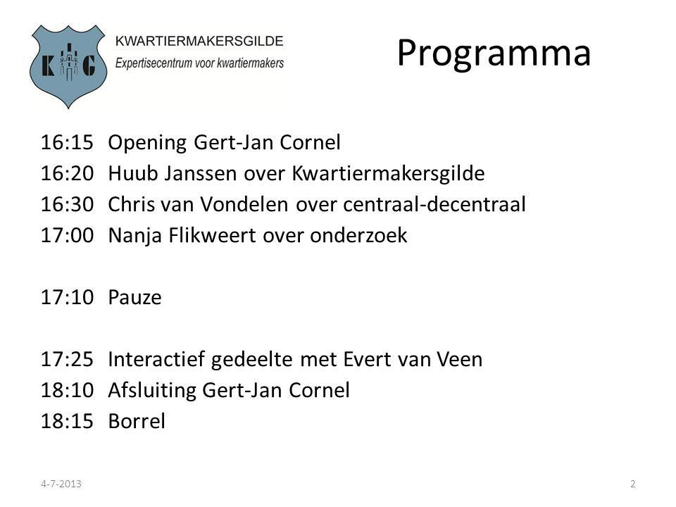 Programma 16:15 Opening Gert-Jan Cornel