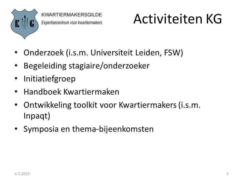 Activiteiten KG Onderzoek (i.s.m. Universiteit Leiden, FSW)