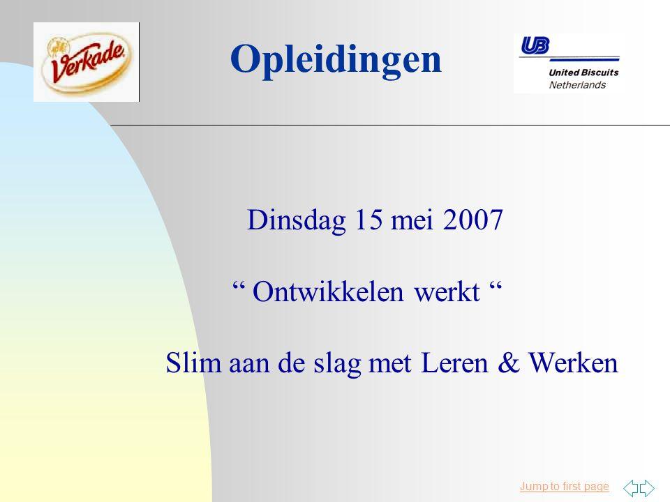 Opleidingen Dinsdag 15 mei 2007 Ontwikkelen werkt