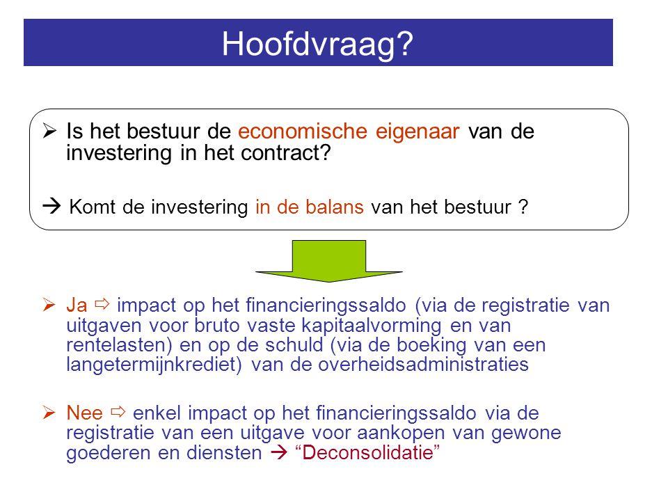 Hoofdvraag Is het bestuur de economische eigenaar van de investering in het contract  Komt de investering in de balans van het bestuur
