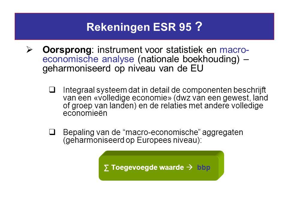 Rekeningen ESR 95 Oorsprong: instrument voor statistiek en macro-economische analyse (nationale boekhouding) – geharmoniseerd op niveau van de EU.