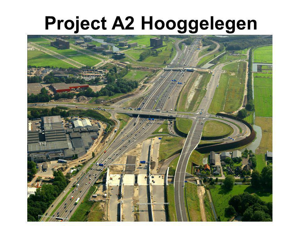 Project A2 Hooggelegen Aanleg: ombouw naar 2 x 5 rijstroken, < 2 km, 5 grote kunstwerken, invlechten in bestaande Rijksweg,
