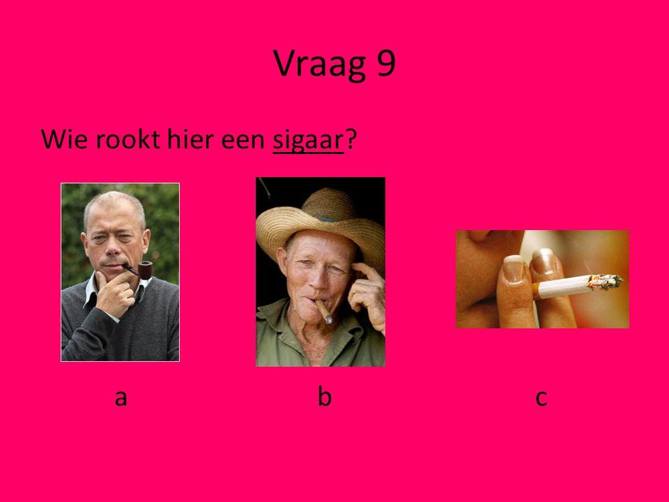 Vraag 9 Wie rookt hier een sigaar a b c