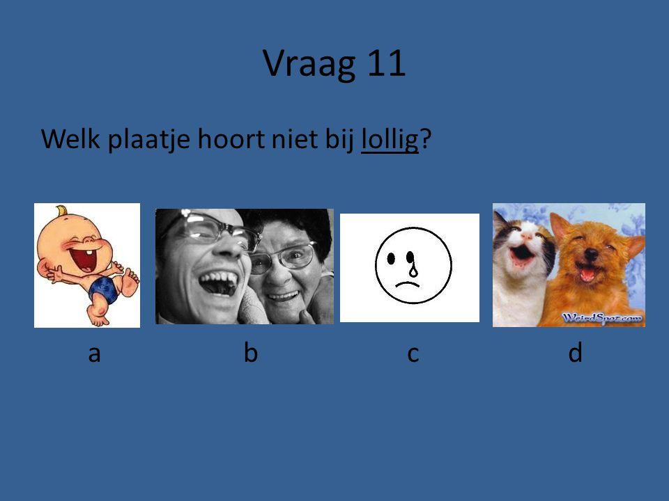 Vraag 11 Welk plaatje hoort niet bij lollig a b c d