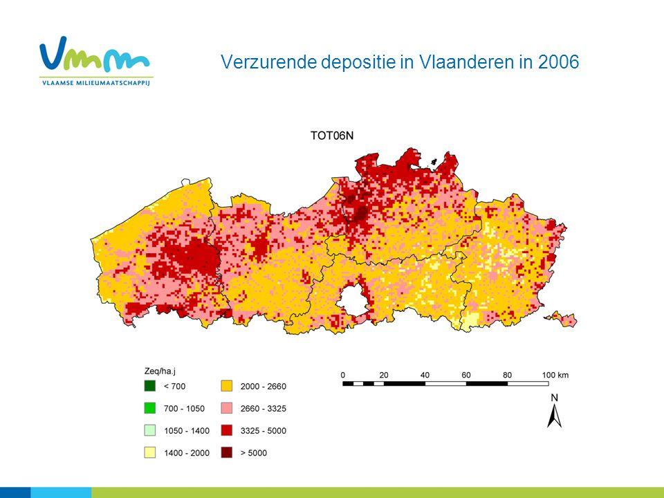 Verzurende depositie in Vlaanderen in 2006