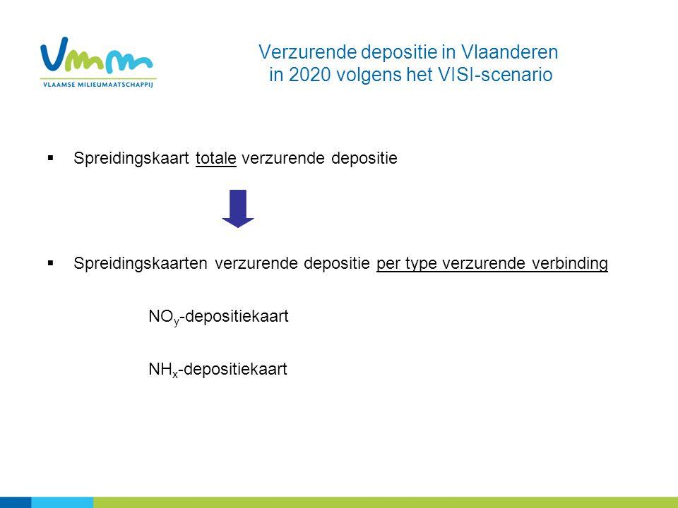 Verzurende depositie in Vlaanderen in 2020 volgens het VISI-scenario