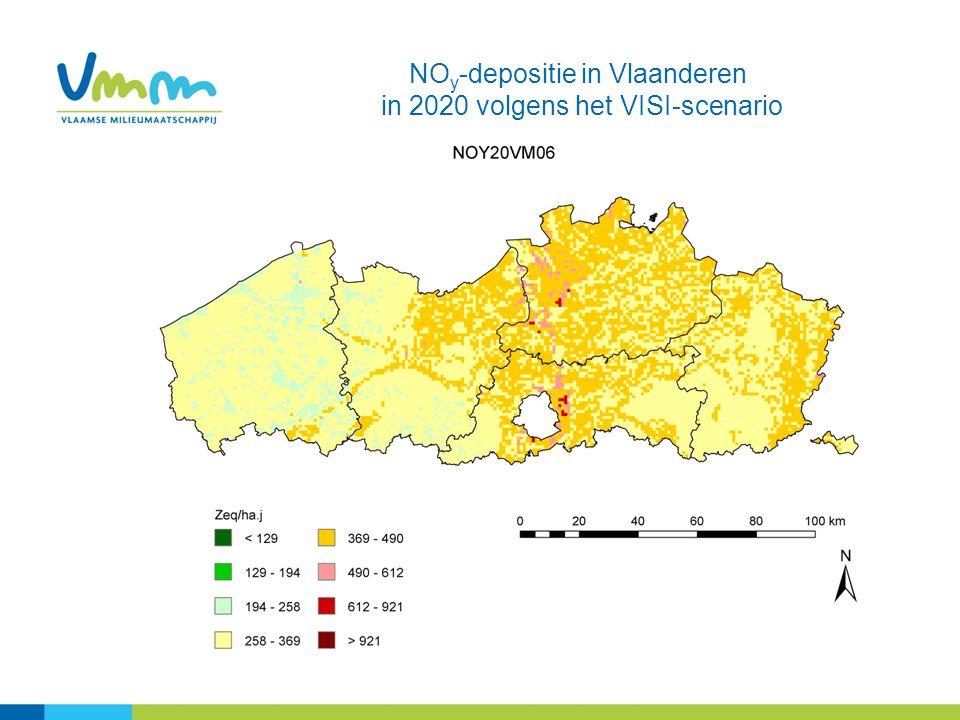 NOy-depositie in Vlaanderen in 2020 volgens het VISI-scenario