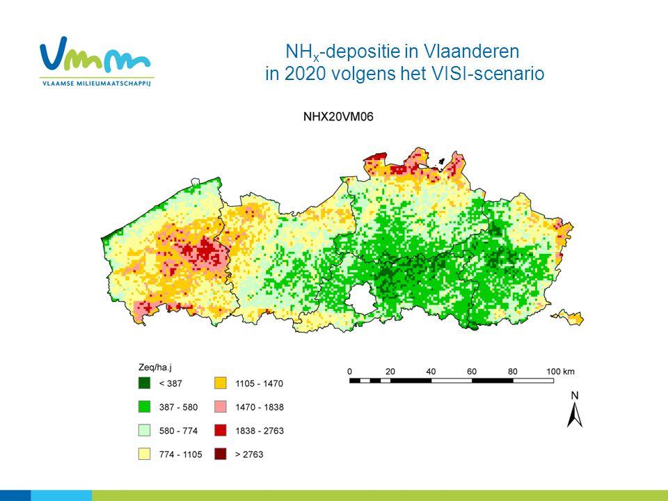 NHx-depositie in Vlaanderen in 2020 volgens het VISI-scenario