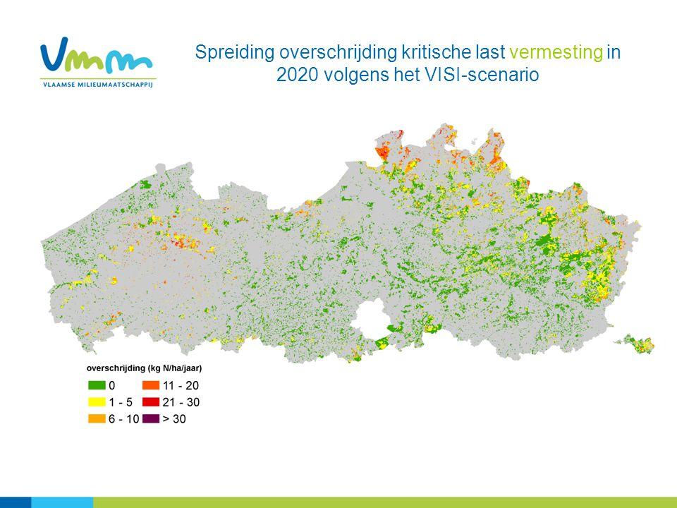 Spreiding overschrijding kritische last vermesting in 2020 volgens het VISI-scenario
