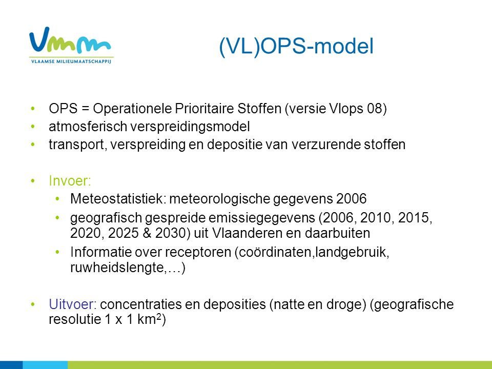 (VL)OPS-model OPS = Operationele Prioritaire Stoffen (versie Vlops 08)