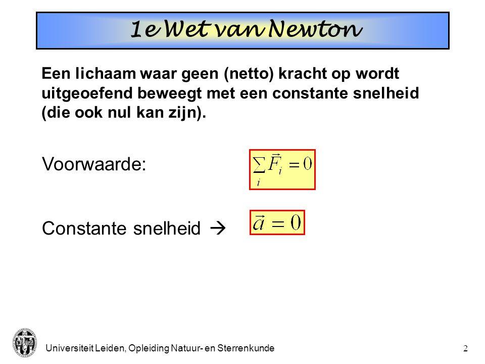 1e Wet van Newton Voorwaarde: Constante snelheid 