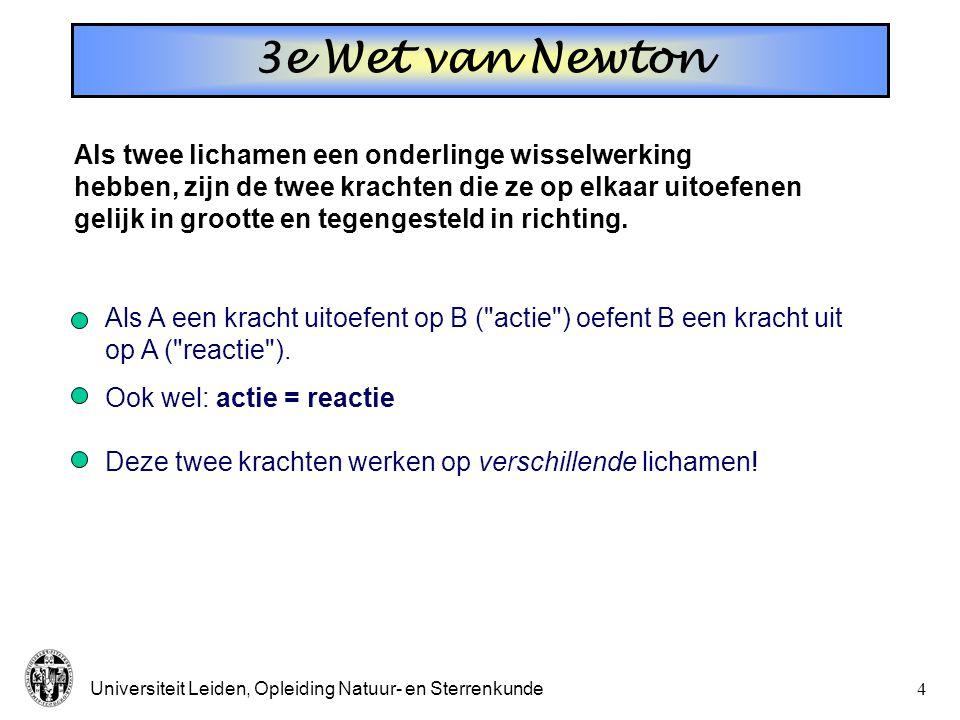 3e Wet van Newton Als twee lichamen een onderlinge wisselwerking