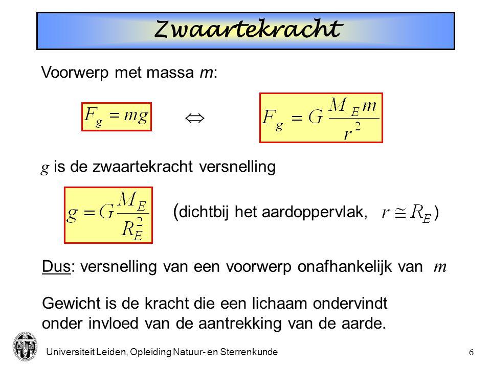 Zwaartekracht  (dichtbij het aardoppervlak, ) Voorwerp met massa m: