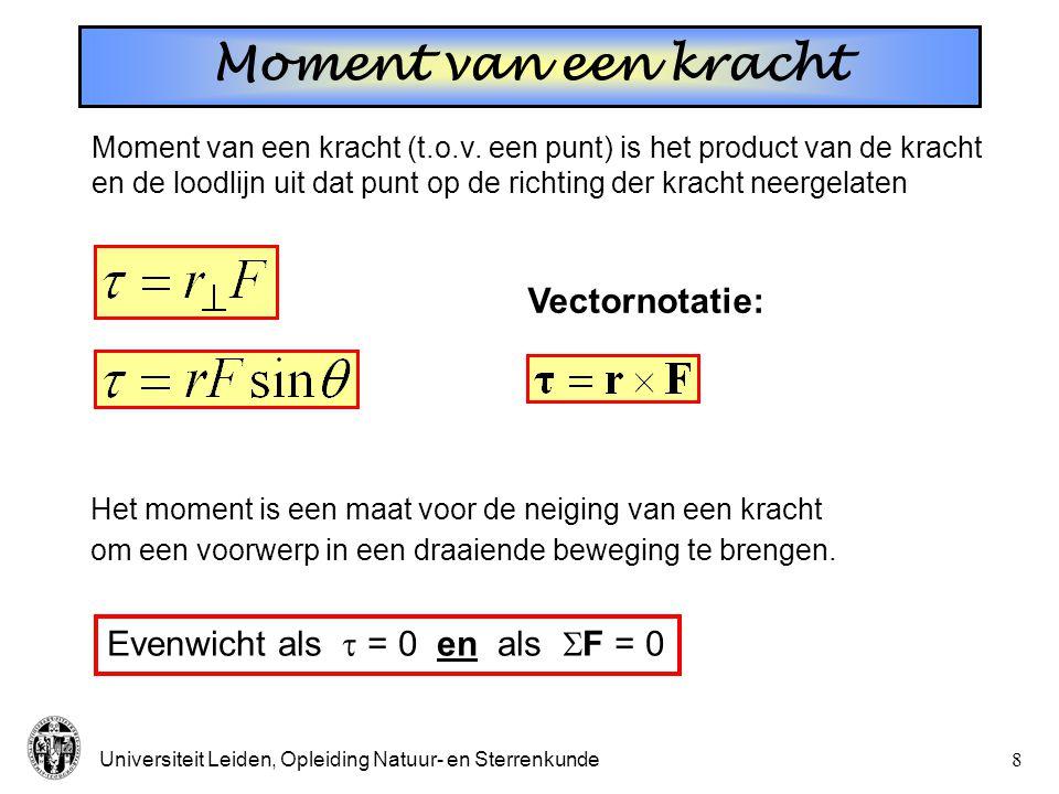 Moment van een kracht Vectornotatie: Evenwicht als  = 0 en als F = 0