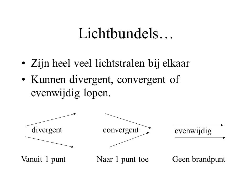 Lichtbundels… Zijn heel veel lichtstralen bij elkaar