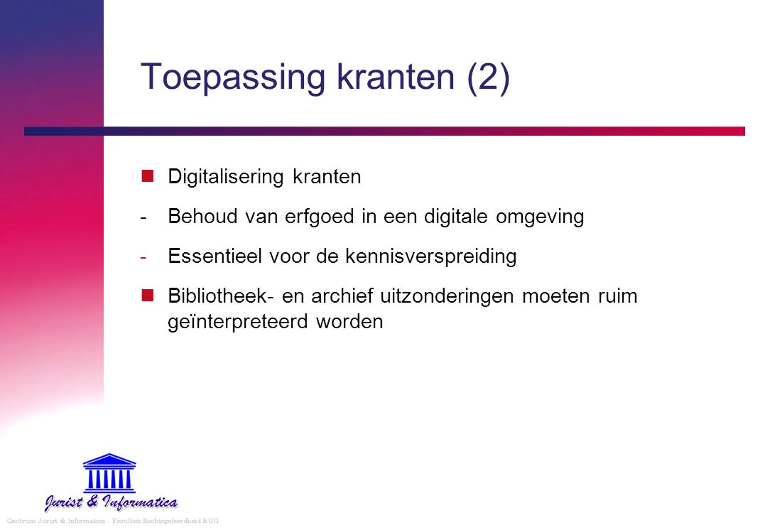 Toepassing kranten (2) Digitalisering kranten