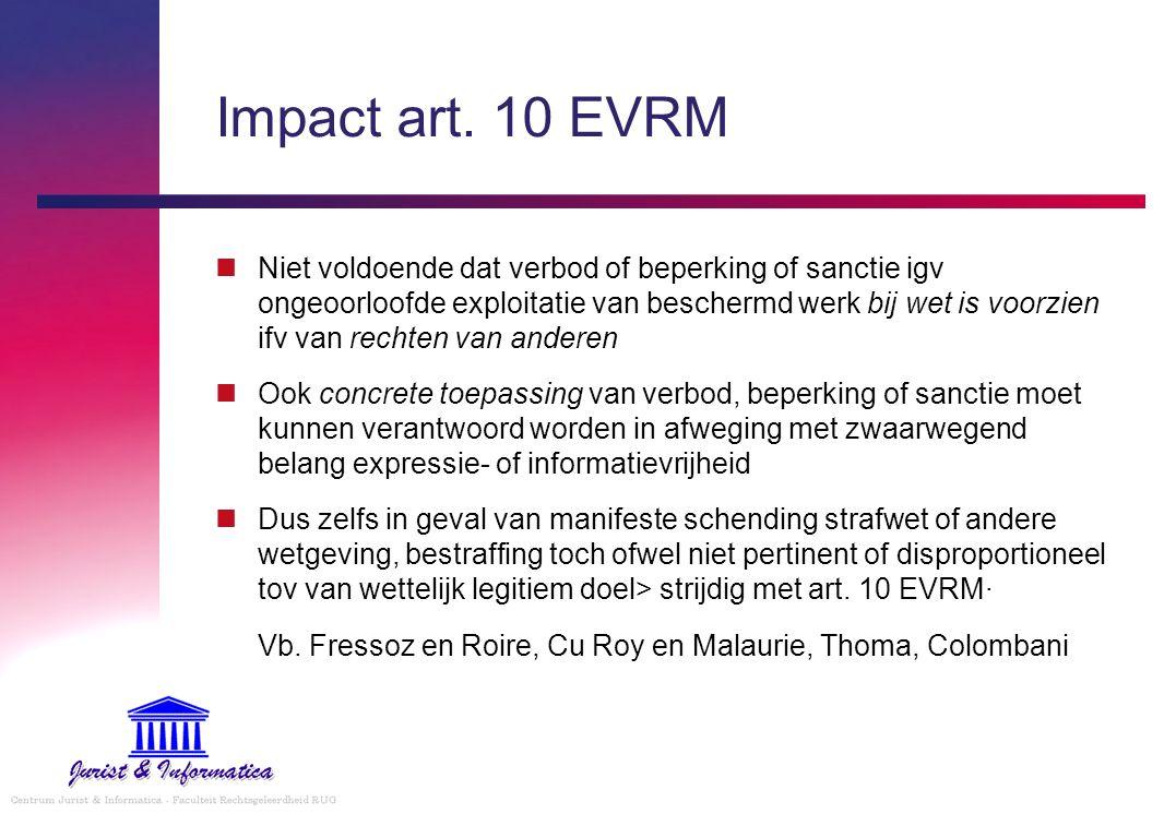 Impact art. 10 EVRM