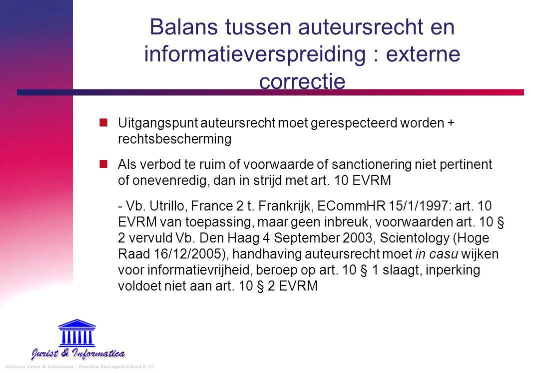 Balans tussen auteursrecht en informatieverspreiding : externe correctie