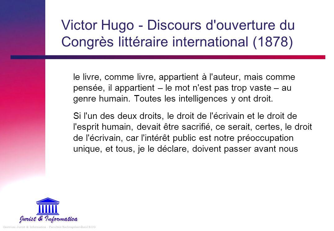 Victor Hugo - Discours d ouverture du Congrès littéraire international (1878)