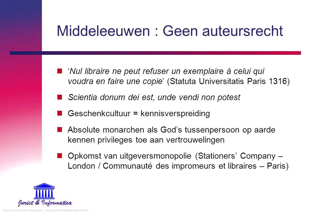 Middeleeuwen : Geen auteursrecht