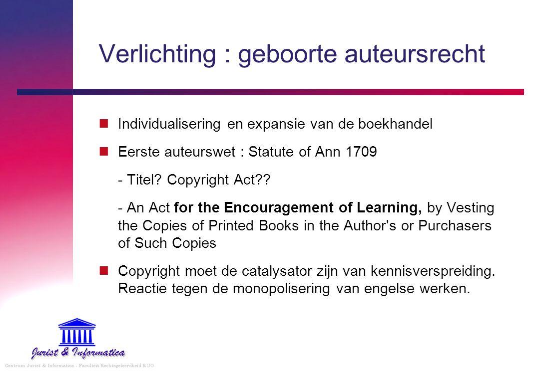 Verlichting : geboorte auteursrecht