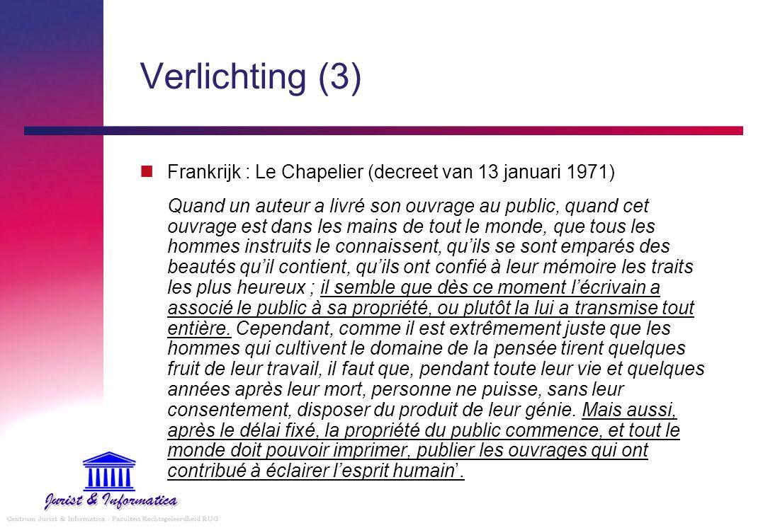 Verlichting (3) Frankrijk : Le Chapelier (decreet van 13 januari 1971)