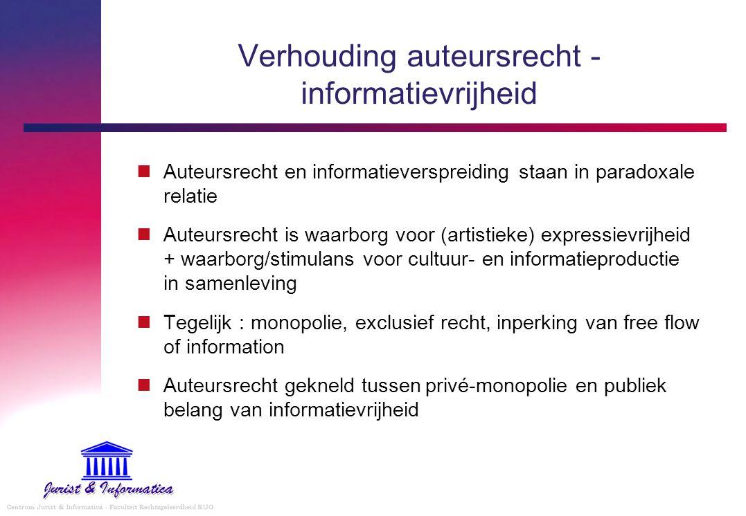 Verhouding auteursrecht - informatievrijheid