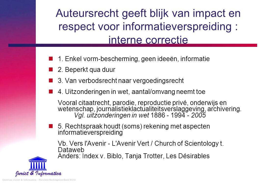Auteursrecht geeft blijk van impact en respect voor informatieverspreiding : interne correctie