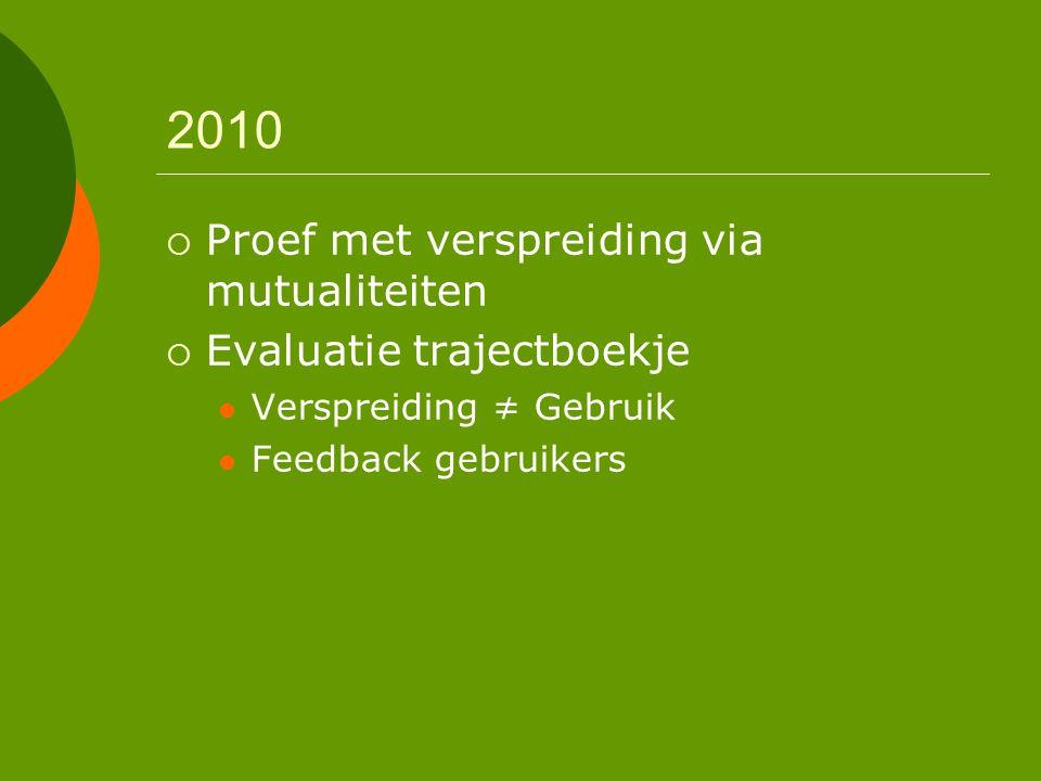 2010 Proef met verspreiding via mutualiteiten Evaluatie trajectboekje