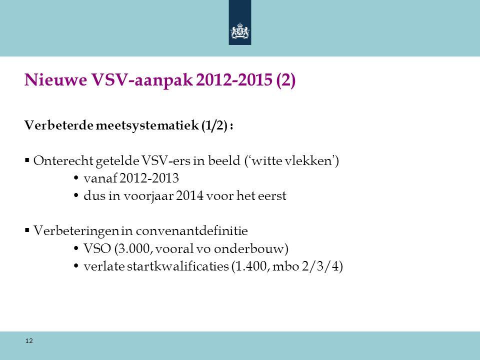 Nieuwe VSV-aanpak 2012-2015 (2) Verbeterde meetsystematiek (1/2) :