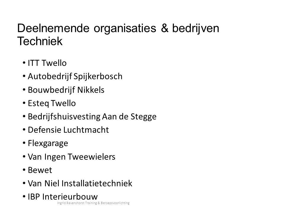 Deelnemende organisaties & bedrijven Techniek
