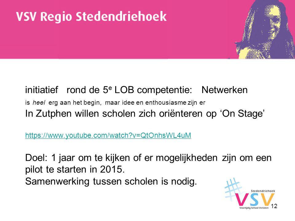 initiatief rond de 5e LOB competentie: Netwerken is heel erg aan het begin, maar idee en enthousiasme zijn er In Zutphen willen scholen zich oriënteren op 'On Stage' https://www.youtube.com/watch v=QtOnhsWL4uM Doel: 1 jaar om te kijken of er mogelijkheden zijn om een pilot te starten in 2015.