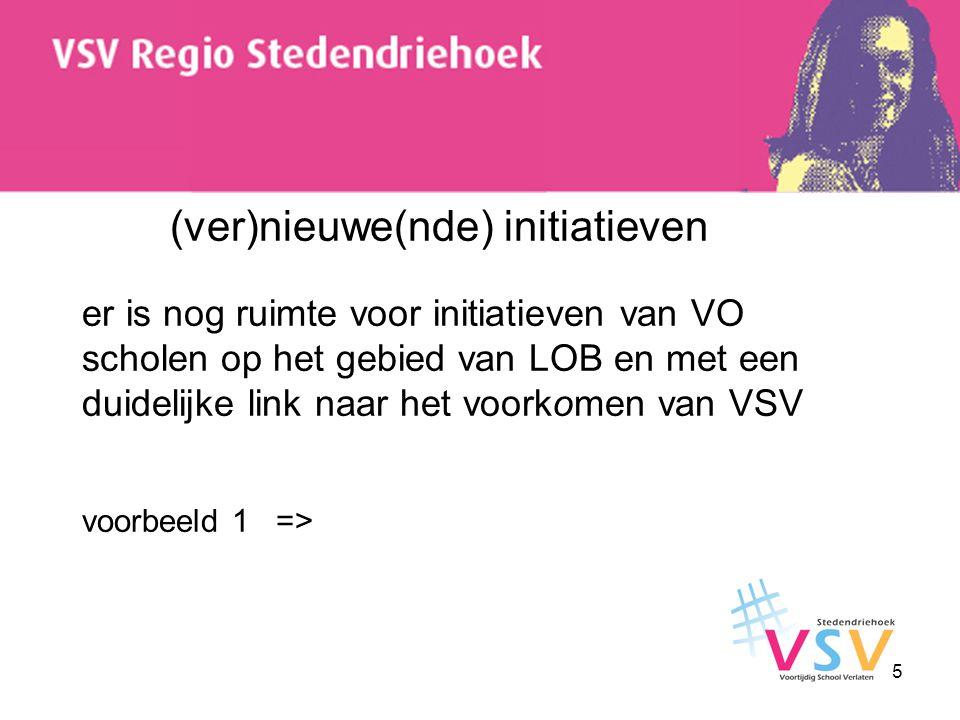 (ver)nieuwe(nde) initiatieven er is nog ruimte voor initiatieven van VO scholen op het gebied van LOB en met een duidelijke link naar het voorkomen van VSV voorbeeld 1 =>