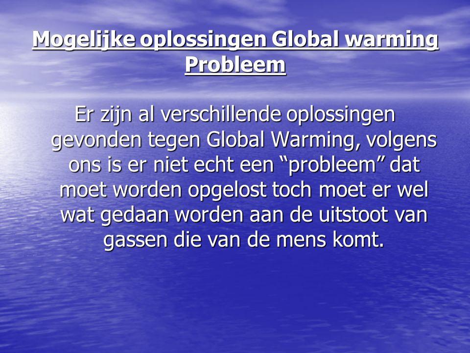 Mogelijke oplossingen Global warming Probleem