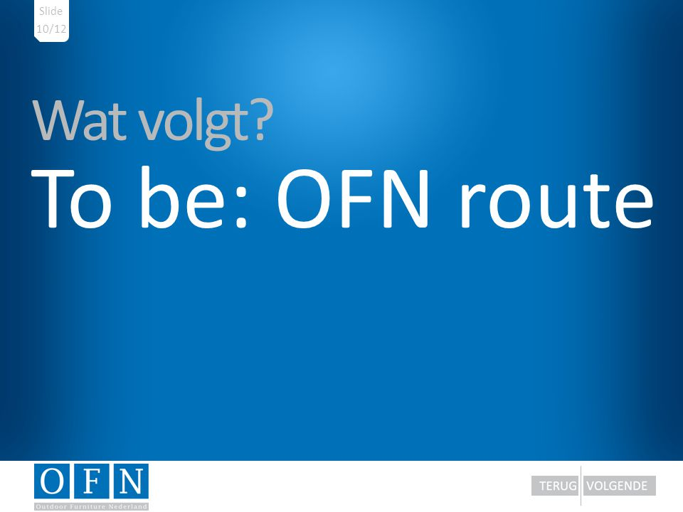 Slide 10/12 Wat volgt To be: OFN route