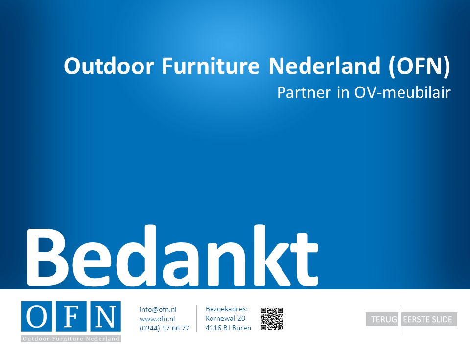 Bedankt Outdoor Furniture Nederland (OFN) Partner in OV-meubilair