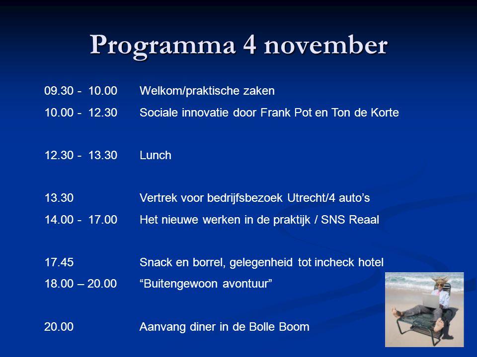 Programma 4 november 09.30 - 10.00 Welkom/praktische zaken