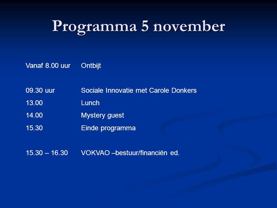 Programma 5 november Vanaf 8.00 uur Ontbijt