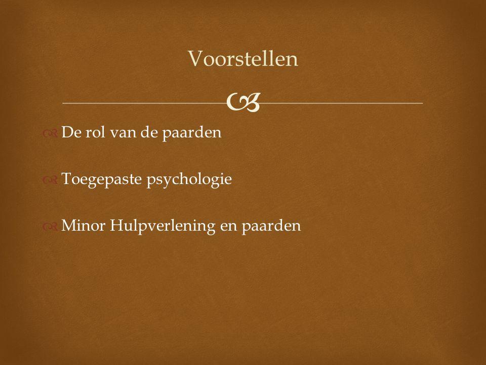 Voorstellen De rol van de paarden Toegepaste psychologie