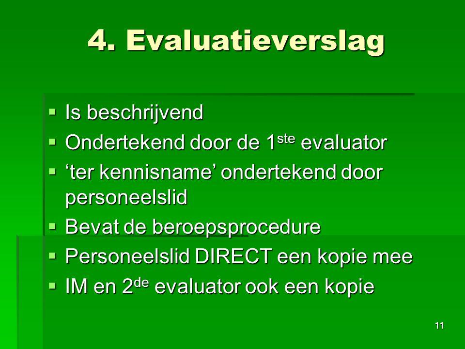 4. Evaluatieverslag Is beschrijvend Ondertekend door de 1ste evaluator