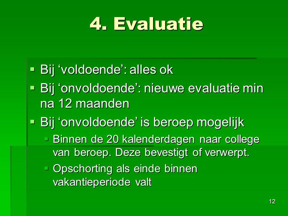 4. Evaluatie Bij 'voldoende': alles ok